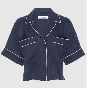 Frame Blue Silk Button Front Hawaiian Shirt